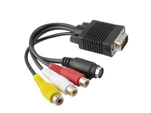 Sub-D 15 pin Male VGA SVGA to S-Video 3 RCA TV AV Out TV-Out Converter Adapter Cable for Laptop PC Video Cards