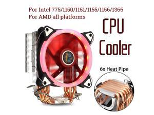 LGA775 1150 1151 1155 1156 1366 2011 Fan cooling 6 Copper Tubes CPU Heatsink Hydraulic Bearing Cooling Fan Silent Fan with RGB Colorful Lights 4 Pin for Intel AMD: FM1 FM2 AM2 AM3+ AM4 Computer com