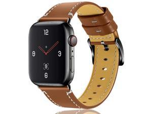 OULUCCI Compatible Apple Watch Band 42mm 44mm, Genuine Leather Replacement for iWatch Strap Compatible with Apple Watch Series 5 4 (44mm) Series 3 Series 2 Series 1 (42mm) Sport Edition