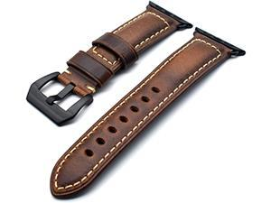 NatoGears Watch Leather Band, Vintage Strap Wristbands for Watches Leather Replacement Band Strap Compatible with Apple Watch iWatch Series 5 4 3 2 1 Sports 44mm 42mm (Brown)