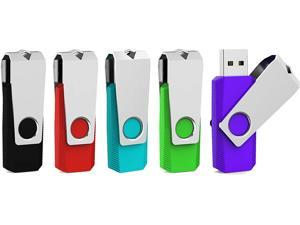 5 Pack 64GB USB Flash Drive 64 GB USB 3.0 Thumb Drive Memory Stick Zip Drives 64GB (5 Mixed Colors: Black Red Cyan Green Purple)