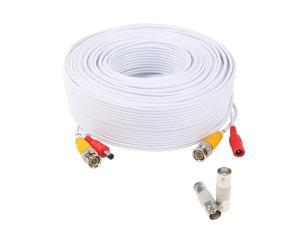 Lknewtrend 200 Feet Pre-Made All-in-One Siamese BNC Video and Power Cable Wire Cord with Two Female Extension Connectors for CCTV Security Camera & DVR (White)