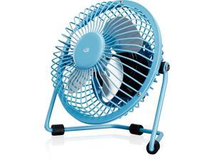"""GPX Mini 4"""" USB Personal Fan, Compatible with Computers, Laptops, Portable Chargers, Blue (AU25BU)"""