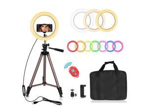 Emart 10-inch 10 Colors & 10 Brightness Levels RGB Selfie Ring Light with Adjustable Tripod Stand & Cell Phone Holder, Dimmable LED O Ring Light for Live Stream, YouTube Video, Makeup
