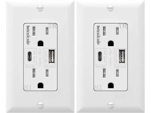 TOPGREENER 5.8A Ultra High Speed USB Type-C/A Combo Outlet, 15A Tamper-Resistant Receptacle, Compatible with iPhone 11 Pro/11/XS/MAX/XR/X, Samsung Note S9/S8/S7 & more, TU21558AC-2PCS, White 2 Pack
