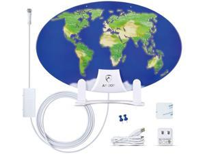HDTV Antenna,ANTOP Amplified TV Antenna Indoor 3D Pattern Design 50 Miles Omni-Directional Reception Range with 10ft High Performance Coaxial Cable