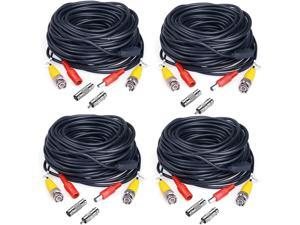 JZTEK 4 Pack 60ft BNC Video Exension Power Cable Cord Pre-Made All-in-One Coaxial Cable with 8pcs BNC to RCA Connectors for DVR Video Camera Security System Wire(Black)