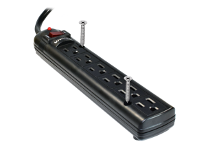 Weltron - Mountable Surge Protector 6 ft. (WSP-600PLF-6BK) 6 Ft. Cord