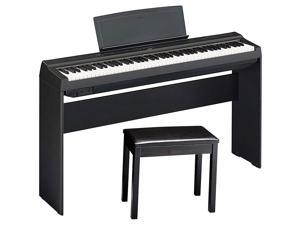 Yamaha P-125BLB Digital Piano with Wooden Stand and Bench Black