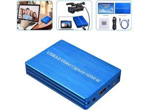HDMI Game Capture Card USB 3.0 HD Video Live Stream and Record in 1080p for PS4 DVD Game Consoles Mic-in Video Recorder Compatible with Windows Linux Os X System Plug-N-Play