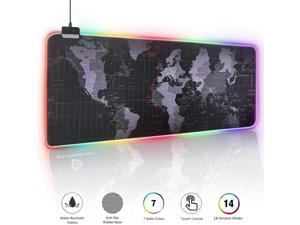 "RGB Gaming Mouse Pad - Large Cool RGB Gaming Mouse Mat With Nylon Thread Stitched Edges & Smoothly Waterproof Non-Slip Rubber Base - 31.5""X 11.8"" with 14 Light Modes"