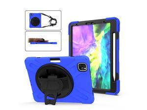 """iPad Pro 11 inch Case 2021 & 2020 & 2018 with Apple Pencil Holder, Rugged Heavy Duty 360 Rotating Kickstand Protective Cover with Shoulder Strap for iPad Pro 11"""" 2rd  Gen 2021 / 2nd Gen 2020 / 1st Gen"""