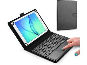 Touchpad Executive Keyboard Case for 7 inch - 8 inch Tablets | 2-in-1 Universal Bluetooth Wireless Keyboard & Leather Folio Cover Black