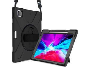 iPad Pro 12.9 Case 2020 2018  - Shockproof Cover with Shoulder Strap, Hand Strap, Pencil Hoder / Kickstand for iPad Pro 12.9 4th Gen 2020 [Support 2nd Gen iPad Pencil Charging] / 3rd Gen 2018