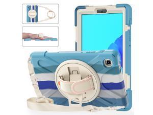 Galaxy Tab A7 Lite Case, Heavy Duty Rugged Shockproof Case with Adjustable Hand Strap, Carrying Shoulder Strap, Rotating Kickstand for Samsung galaxy Tab A7 Lite 8.7 inch 2021 Model SM-T220 SM-T225