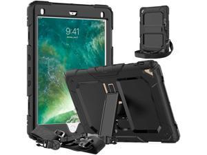 iPad 9.7 Case iPad Air 2 Cover Heavy Duty Rugged Shockproof Silicone Protective Case With Stand & Shoulder Strap For Apple iPad Air 2 / iPad Pro 9.7 / iPad 9.7 2017 2018 iPad 5th / 6th Generation