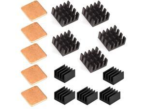 15 pcs Raspberry Pi Heatsink Kit Aluminum + Copper + 3M 8810 thermal conductive adhesive tape for cooling cooler Raspberry Pi 3 B+, Pi 3 B, Pi 2, Pi Model B+