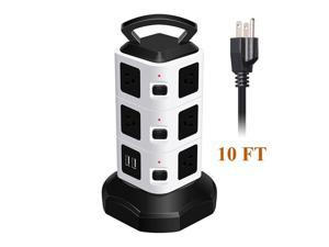 Power Strip with USB Surge Protector - 10 AC Outlet + 4 USB Port Charger Charging Station Power Supply Adapter Multi Socket Plug Powerstrips Bar Stand Tower, Individual Switch, 10FT Extension Cord