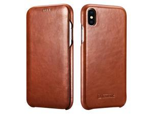 WERLEO iPhone Xs MAX Leather Case Genuine Vintage Leather Flip Folio Opening Cover in Curved Edge Design Slim Thin Side Open Case for iPhone Xs MAX 6.5 Inch