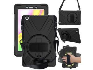 Galaxy Tab A 8.0 2019 Case Model SM-T290 SM-T295 Heavy Duty Shockproof Protective Case Cover with 360 Rotating Kickstand Hand Strap Shoulder Strap for Samsung Galaxy Tab A 8.0 2019 Without S Pen