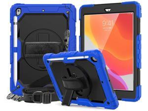 New iPad 10.2 2019 Case [Built-in Screen Protector] 3 Layer Heavy Duty Shockproof Rugged Protective Cover with Hand and Shoulder Straps for iPad 7th Generation 2019 Case 10.2 inch