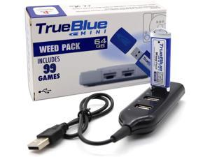 True Blue Mini Weed Pack USB Flash Drives 64GB Game Memory Stick with 4-Port Hub for Playstation Classic - Includes 99 Games