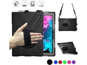 Microsoft Surface Pro 7 / Pro 6 / Pro 5 / Pro 2017 / Pro 4 / Pro LTE Case Protective Rugged Cover Case with Pen Holder Hand Strap Rotating Kickstand Shoulder Strap Rugged Shockproof Silicone Case