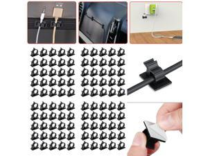100X Cable Clips Cord Management Wall Clamp Self Adhesive Wire Holder Organizer
