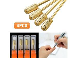 4pcs Safety Cylindrical Round Carbide Bit 3/32 Electric Drill Nail Art Tool Set