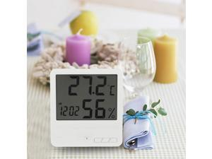 White Digital Thermometer Hygrometer Clock Temperature Humidity Meter Calendar Maximum Minimum Value Display