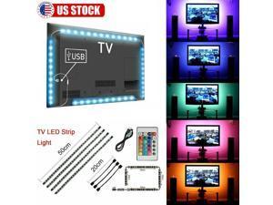 6.6FT TV PC LED Backlight 4pcs USB RGB 5050 Strip Light Remote Kit 5V 30Leds/M