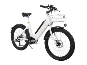 Buzz Electric Bike for Adults - 36V Pedal-Assist Mid-Drive E-Bike - White