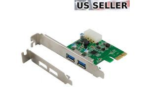 2-Port USB 3.0 PCI-Express PCIe Adapter Controller Card ~ Low Profile