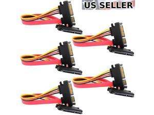 "5-pack 15+7 Pin SATA HDD Extension Cable Data+Power Male to Female, 11"" / 28cm"