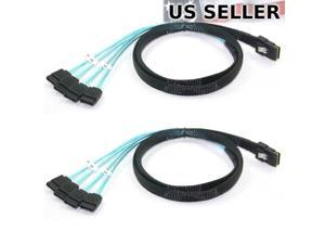 2x Mini SAS to 4 SATA SFF-8087 Multi-Lane Forward Breakout Splitter Cable 3 Feet