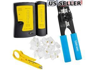 Network Tester +Cable Crimper +Stripper +50 RJ45 Connectors CAT5e/CAT6 Tool Kit