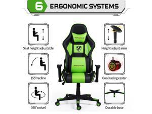 Nokaxus Gaming Chair Office Chair Adjustable Massage Lumbar Cushion Swivel Rocker Recliner Leather Ergonomic Computer Desk Chair with Retractable Arms