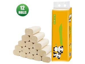 12 Rolls 4-layer Coreless Roll Paper Bamboo Pulp Paper Towel Kitchen Bathroom Toilet Paper Thick Household Paper