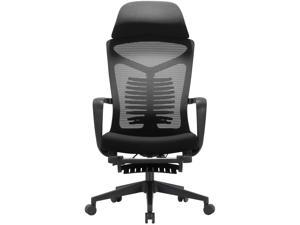 SIHOO Ergonomic Office Chair, Computer Desk Chair with Adjustable Lumbar Support, Breathable Mesh High Back and Padded Seat Desk Chair with Footrest (Black)