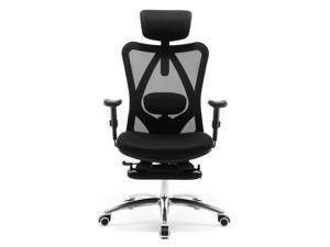 SIHOO M18-023 Ergonomics High Back Mesh Office Chair, Recliner Chair, Adjustable Headrests Chair Backrest and Armrest (Black)