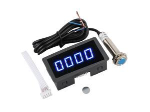 4 Digital LED Tachometer RPM Speed Meter + Hall Proximity Switch Sensor NPN