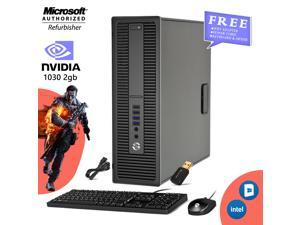 HP EliteDesk 800 G2 SFF - Gaming PC Computer Core i5- 6th Gen 6500 Upto 3.60 Ghz- 16GB DDR4 256GB SSD- NVIDIA GeForce GT 1030 2GB DDR4 (HDMI) -Win 10 Home New Wired KB, Mouse , Free WiFi Adapter