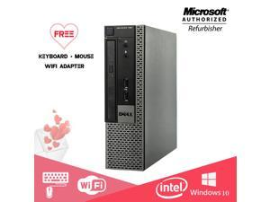 Dell Optiplex 990 USFF Computer Intel Core i5 2400S 8GB 256GB SSD DVD Windows 10 Home Free New keyboard, Mouse,Power cord,WiFi Adapter
