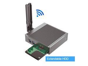 Fanelss Rugged Mini PC,Intel Celeron N2940,Desktop Computer,Palm Size,Windows 10 Pro/Linux Ubuntu,(Silver),for PXE,WOL,WiFi,BT4.0,2HDMI,2LAN,4USB2.0,2USB3.0,(4G RAM/64G SSD)
