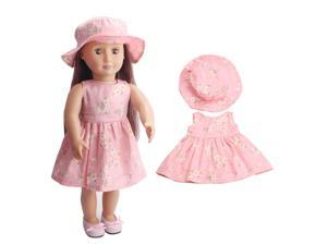 2pcs Doll Clothing Suit Flower Printing Dress + Hat for 18 Inch doll C233 as shown