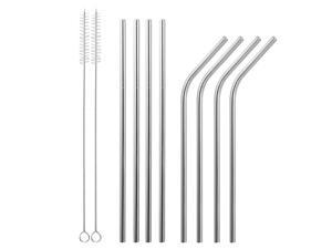 10Pcs 8.5in Stainless Steel Drinking Straws Reusable Metal Drinking Straws for 20oz Tumbler