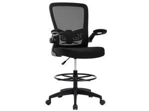 Mesh Drafting Chair Tall Office Chair Drafting Stool with Arms Footrest