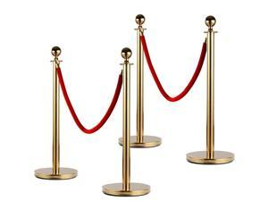 2/4/6 PACK Stainless Steel Stanchion Set Rope Red Velvet Velour Queue Barrier US