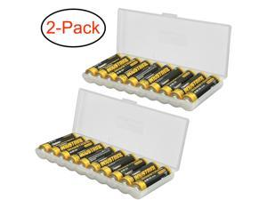 Clear AA Plastic Battery Storage Case/Organizer/Holder Holds 10 AA batteries 2PK