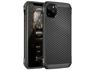 For  iPhone 11/Pro/Max Black Carbon Fiber TPU Armor Case+Tempered Glass